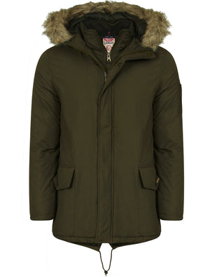 Highstead Mock Insert Fur Hooded Parka Jacket in Dark Khaki - Tokyo Laundry