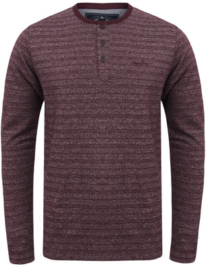 Hoaden Grindle Stripe Long Sleeve Henley Top in Plum Perfect - Tokyo Laundry