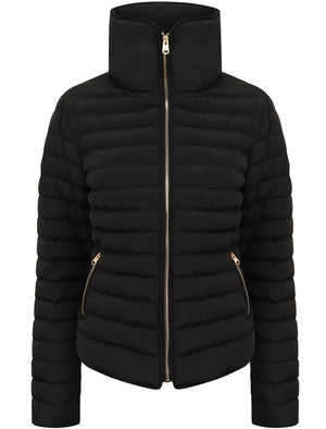 Honey Funnel Neck Quilted Jacket in Black - Tokyo Laundry
