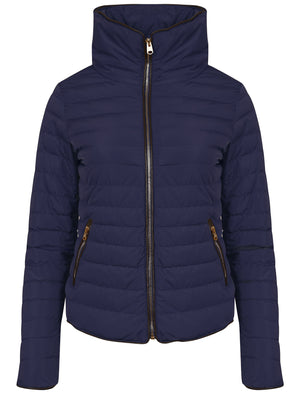 Honey Funnel Neck Quilted Jacket in Peacoat Blue - Tokyo Laundry
