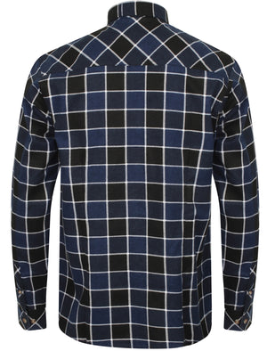 Hulverston Checked Cotton Flannel Shirt In Mid Blue - Tokyo Laundry