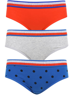 India 2 (3 Pack) Assorted Cotton Briefs In Lollipop Red / Light Grey Marl / Nautical Blue – Tokyo Laundry