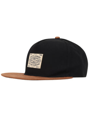 Indie Cotton Twill Cap with Faux Suede Peak In Black – Tokyo Laundry