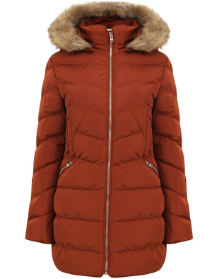 Jaboris Fur Funnel Neck Longline Quilted Puffer Coat in Paprika - Tokyo Laundry