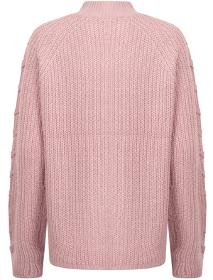 Jade Fisherman Knit Jumper with Lace Up Detail in Nude Pink - Tokyo Laundry