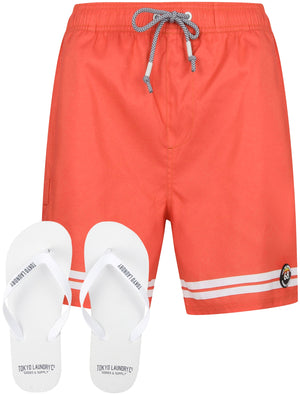 Jafari Swim Shorts With Free Matching Flip Flops In Cayenne – Tokyo Laundry