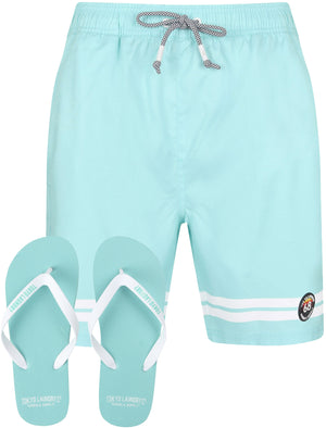 Jafari Swim Shorts With Free Matching Flip Flops In Tibetan Blue - Tokyo Laundry