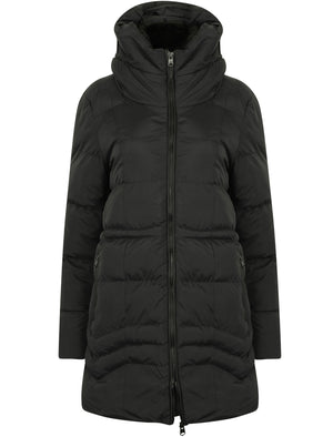 Jamarico Longline Quilted Coat with Expandable Hood in Black - Tokyo Laundry