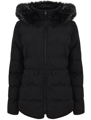 Jasmin Quilted Puffer Jacket With Faux Fur Trim Hood In Black – Tokyo Laundry