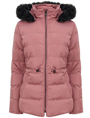 Jasmin Quilted Puffer Jacket With Faux Fur Trim Hood In Nostalgia Rose - Tokyo Laundry