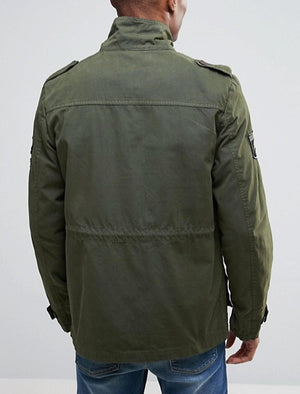 Jenkinson Cotton Military Jacket with Badges in Khaki - Tokyo Laundry