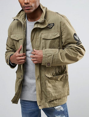 Jenkinson Cotton Military Jacket with Badges in Stone - Tokyo Laundry