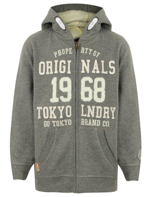 Boys K-Baracoa Point Zip Through Hoodie in Mid Grey Marl – Tokyo Laundry Kids