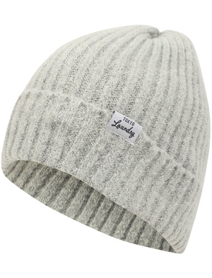 Women's Kai Ribbed Cable Knit Beanie Hat in Light Grey Marl – Tokyo Laundry