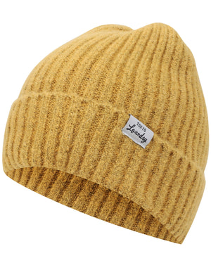 Women's Kai Ribbed Cable Knit Beanie Hat in Mustard – Tokyo Laundry