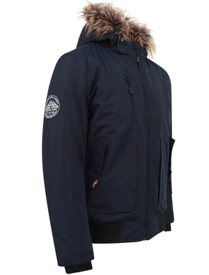 Kennett Taslon Short Parka Coat With Borg Lined Hood In Navy - Tokyo Laundry