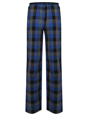 Kenning Brushed Flannel Checked Lounge Pants in Monaco Blue - Tokyo Laundry
