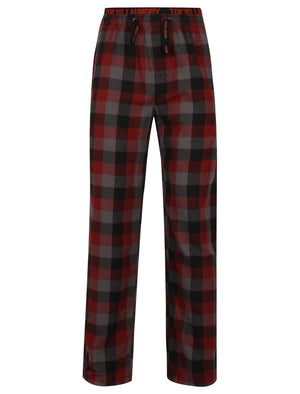 Kenning Brushed Flannel Checked Lounge Pants in Red - Tokyo Laundry