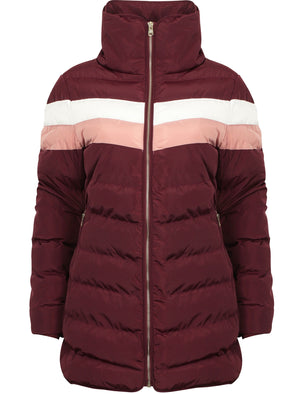 Kernel Longline Puffer Coat with Chevron Panel In Burgundy – Tokyo Laundry