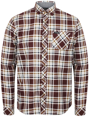Kingsbridge Checked Cotton Flannel Shirt In Burgundy – Tokyo Laundry