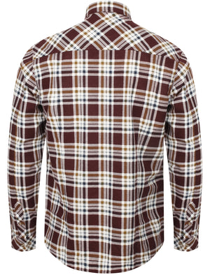 Kingsbridge Checked Cotton Flannel Shirt In Burgundy - Tokyo Laundry