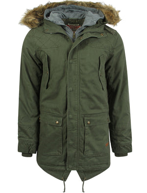 Tokyo Laundry green parka jacket with detachable fur trim