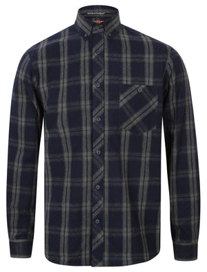 Landry Checked Cotton Shirt in Marine – Tokyo Laundry