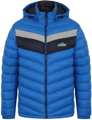 Langham Quilted Puffer Jacket with Hood In Olympian Blue - Tokyo Laundry