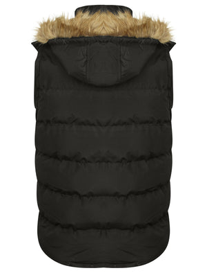 Lansing Quilted Gilet with with Faux Fur Trim Hood in Black - Tokyo Laundry