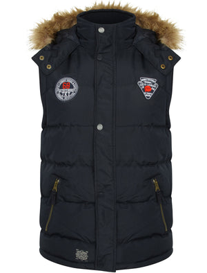 Lansing Quilted Gilet with with Faux Fur Trim Hood in True Navy - Tokyo Laundry