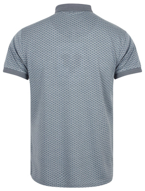 Lapse Jacquard Polo Shirt with Chest Pocket In Dusty Blue - Le Shark