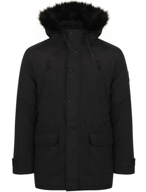 Lenart Faux Fur Trim Hooded Parka Jacket in Black - Tokyo Laundry