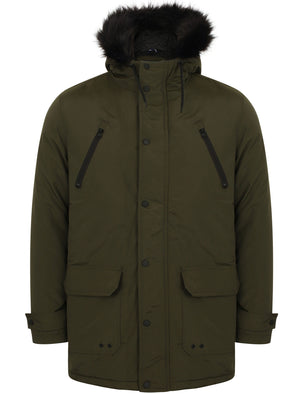Lenart Faux Fur Trim Hooded Parka Jacket in Khaki - Tokyo Laundry