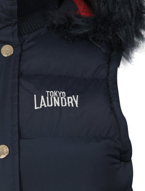 Liberty Fur Trim Hood Padded Gilet In Navy  - Tokyo Laundry