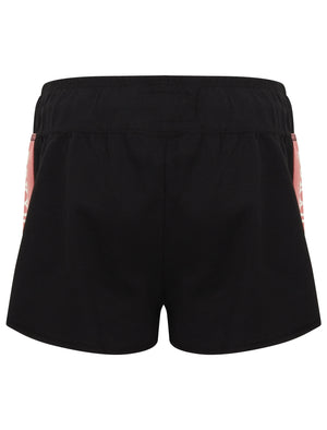 Lois Loopback Fleece Sweat Shorts with Printed Side Panels In Jet Black – Tokyo Laundry
