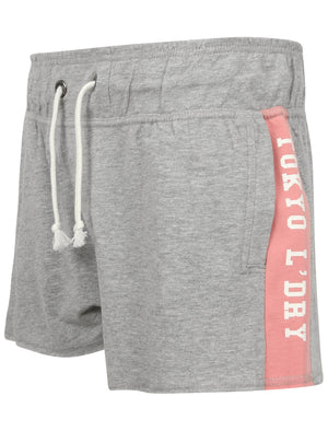 Lois Loopback Fleece Sweat Shorts with Printed Side Panels in Light Grey Marl – Tokyo Laundry