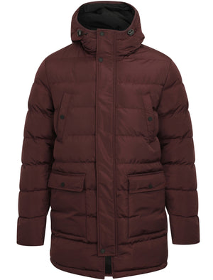 Edmonton Longline Quilted Puffer Coat with Hood In Aubergine - Tokyo Laundry