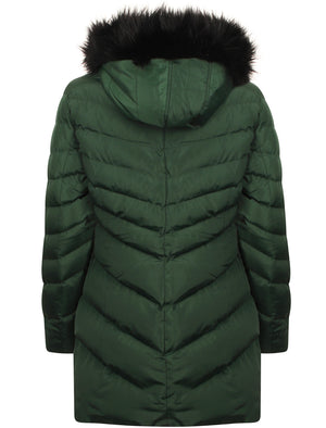 Lotus Longline Quilted Puffer Coat with Faux Fur Trim Hood in Dark Green – Tokyo Laundry
