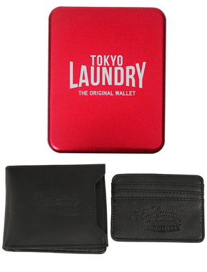 Louisville Black Faux Leather Card Holder And Wallet Set In Metal Gift Box – Tokyo Laundry