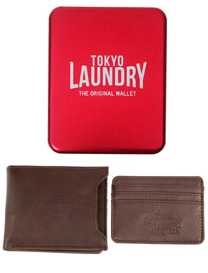 Louisville Tan Faux Leather Card Holder And Wallet Set In Metal Gift Box – Tokyo Laundry