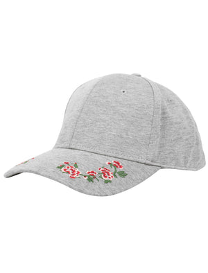 Lovato Floral Embroidered Cotton Jersey Cap In Light Grey Marl – Tokyo Laundry