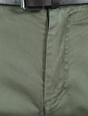 Mackay Cotton Chino Trousers With Belt in New Khaki – Tokyo Laundry