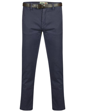 Mackay Cotton Chino Trousers With Belt in Midnight Blue – Tokyo Laundry