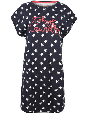 Mags Star Printed Cotton T-Shirt Nightie In Eclipse Blue – Tokyo Laundry