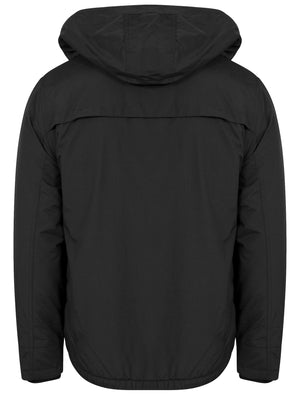 Maspeth Hoodie Layered Windbreaker Jacket in Black - Tokyo Laundry