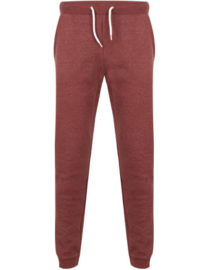 Mast Brush Back Fleece Cuffed Joggers In Bordeaux Marl - South Shore