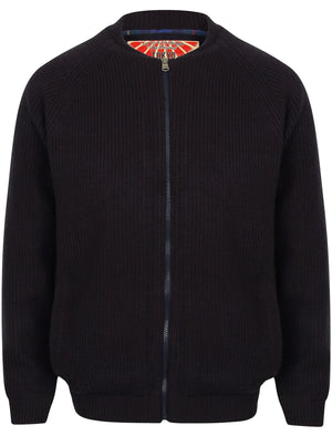 Maximo Quilted Lined Knitted Bomber Jacket in Dark Navy - Tokyo Laundry