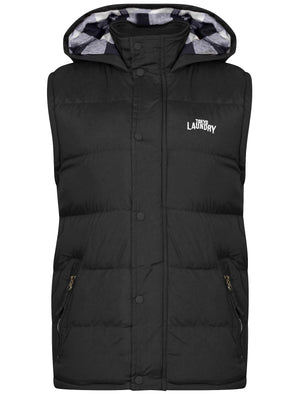 McCrooke Flannel Lined Quilted Gilet in Black - Tokyo Laundry