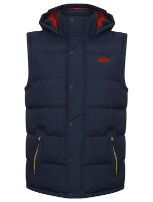 McCrooke 2 Padded Gilet with Hood in Midnight Blue - Tokyo Laundry