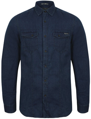 Mendez Long Sleeve Denim Shirt with Chest Pockets in Deep Indigo - Tokyo Laundry